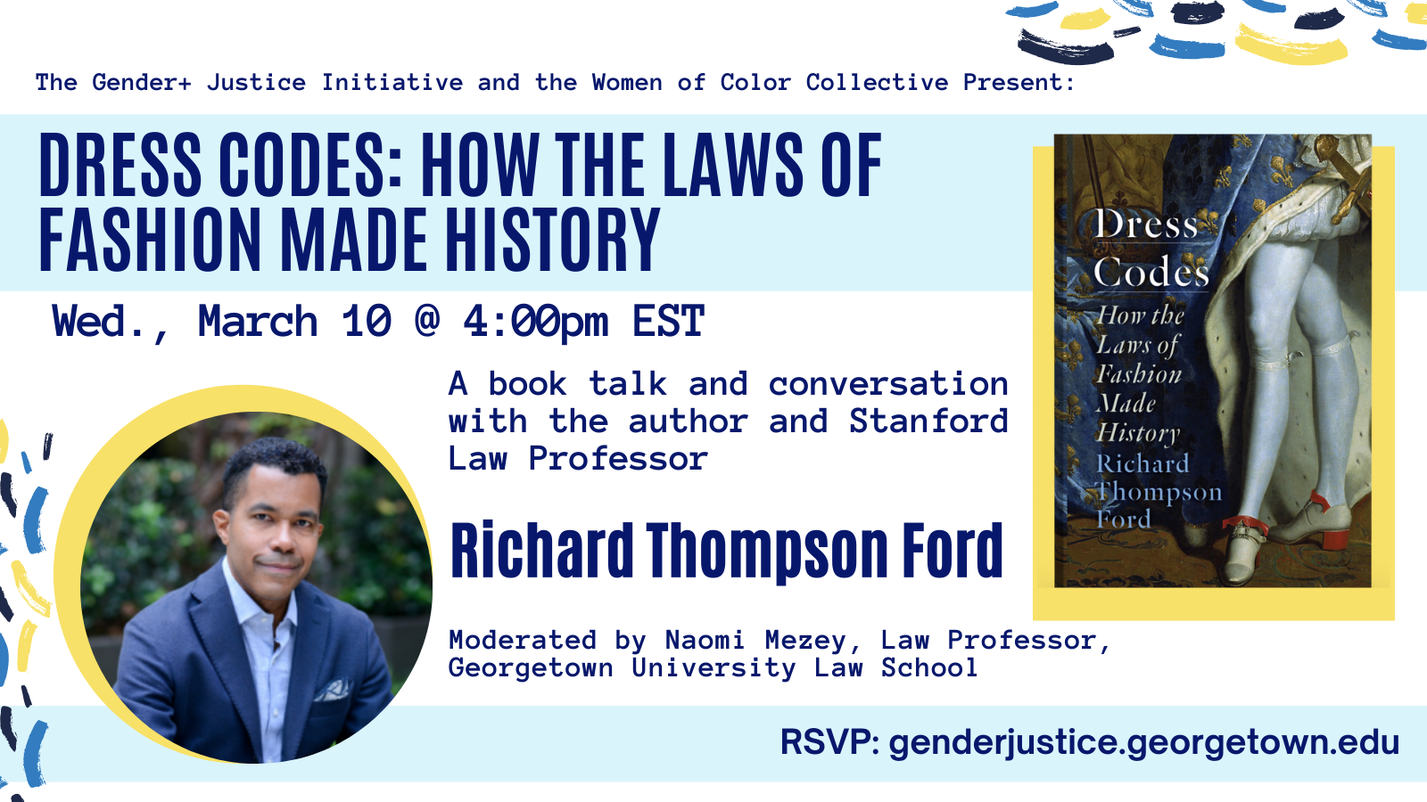 Flyer Book Talk: Dress Codes by Richard Ford - White background and dark blue text with all events details and author headshot