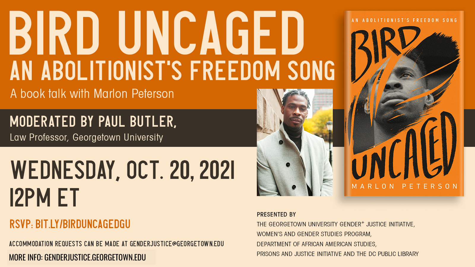 Bird Uncaged Flyer - Orange and beige background, gray text, headshot of author and book cover